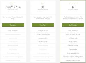 akismet pricing plans