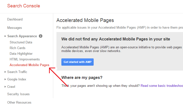 View AMP in Google Search Console