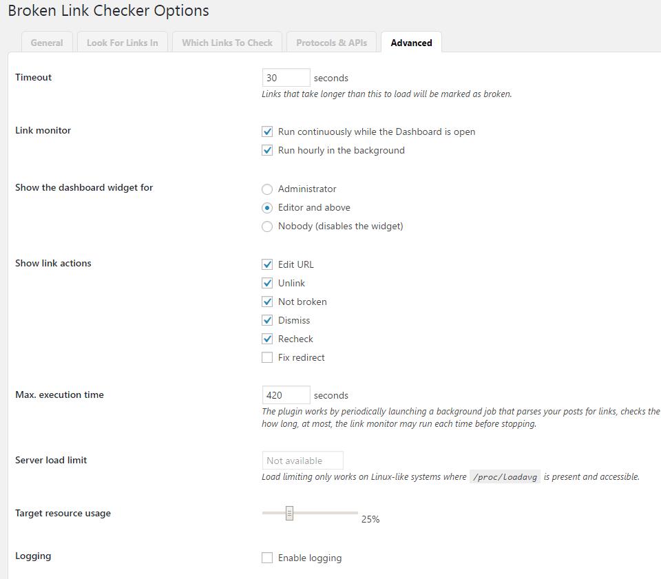 Broken Link Checker Advanced Settings