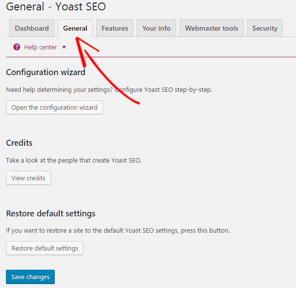 General Yoast SEO Setting