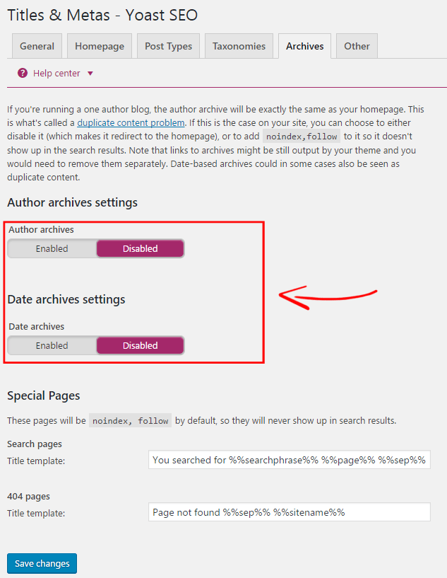 Yoast Author Archives Settings