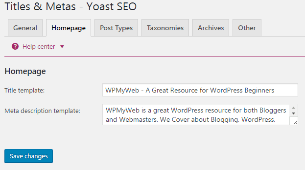Yoast SEO Homepage Settings