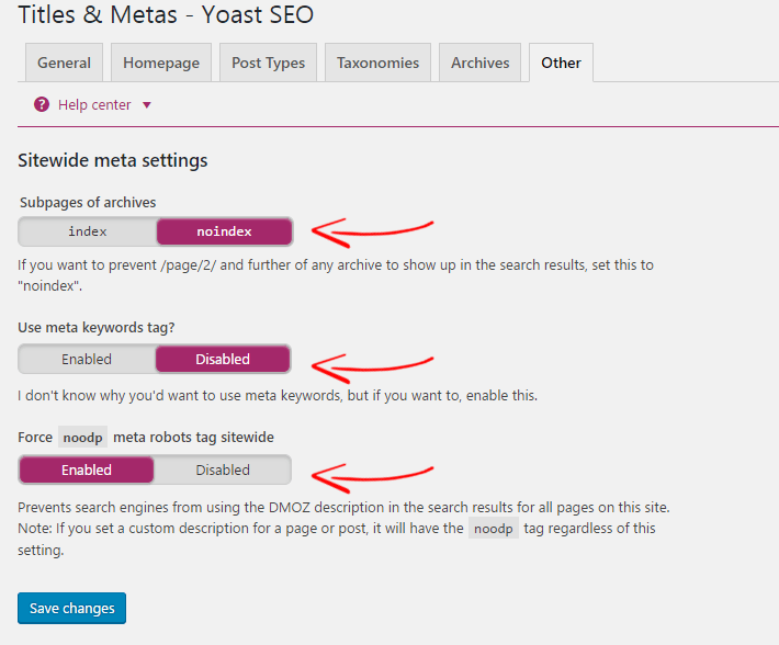 Yoast SEO Meta Settings