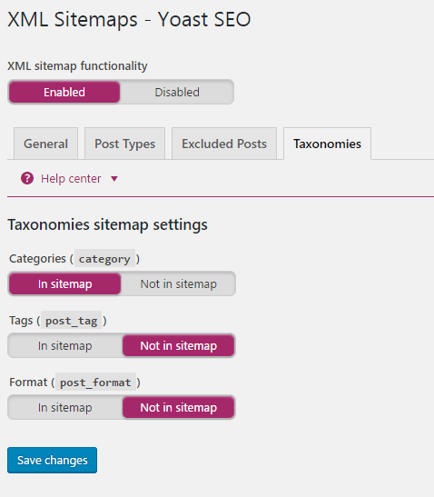 Yoast Taxonomies Settings